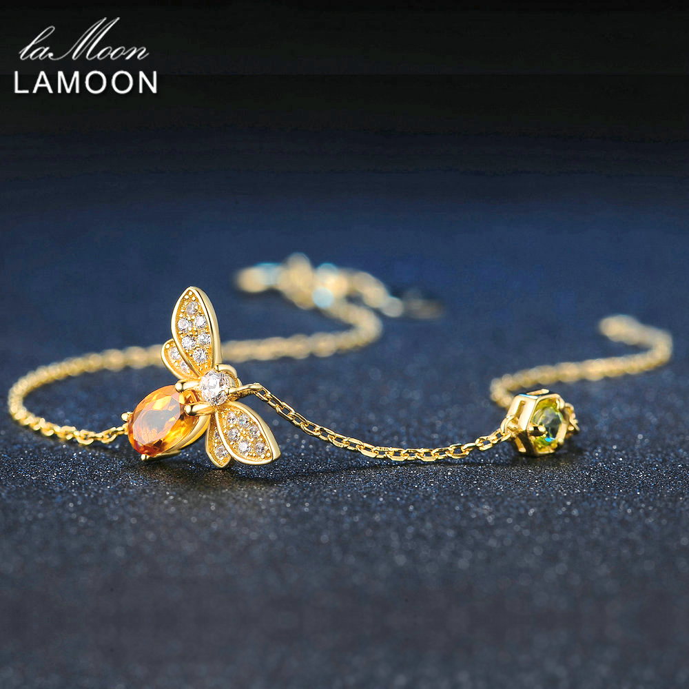 LAMOON Bee 5X7mm 100% Natural Oval Citrine 925 Sterling Silver Jewelry Gold-color Chain Charm Bracelet S925 LMHI002 2017 factory rose gold color 100% 925 sterling silver black blue stone paved cute hamsa hand link box chain gold color bracelet