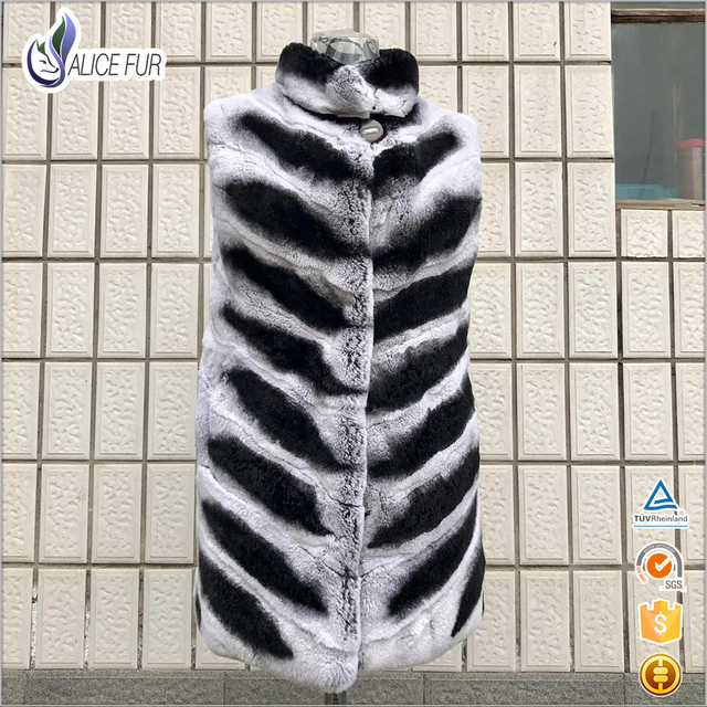 ALICEFUR High Quality Women Rex Rabbit Fur Vest Sleeveless Real Striped Nature Furs Coats O-Neck Warm Thick Winter Luxury Gilet