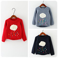 Retail Hot New Children Girl Autumn Winter Cartoon Clouds Sweater Long Sleeved Knit Turtleneck Sweaters Jacket Coat Children swe