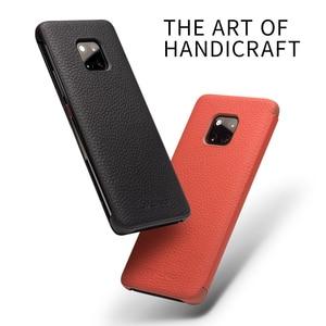 Image 3 - QIALINO דק אמיתי עור Flip Case עבור Huawei Mate 20 פרו יוקרה טלפון כיסוי עם תצוגה חכמה עבור huawei Mate 20 X