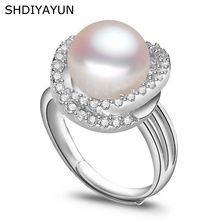 цена SHDIYAYUN Ring Pearl Jewelry Inlay AAAA Zircon Natural Freshwater Pearl Big Rings 925 Sterling Silver Diamond Rings For Women онлайн в 2017 году