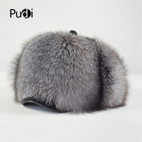 Pudi man&women's real fur hat cap 2019 new genuine silver fox raccoon fur casual winter warm bomber hats snow hats HF812