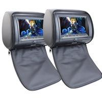 מסכי lcd רכב dual תאום 2 יחידות זוג משענת ראש רכב כרית צגים נגן וידאו DVD אזור חינם IR/משדר FM SD USB