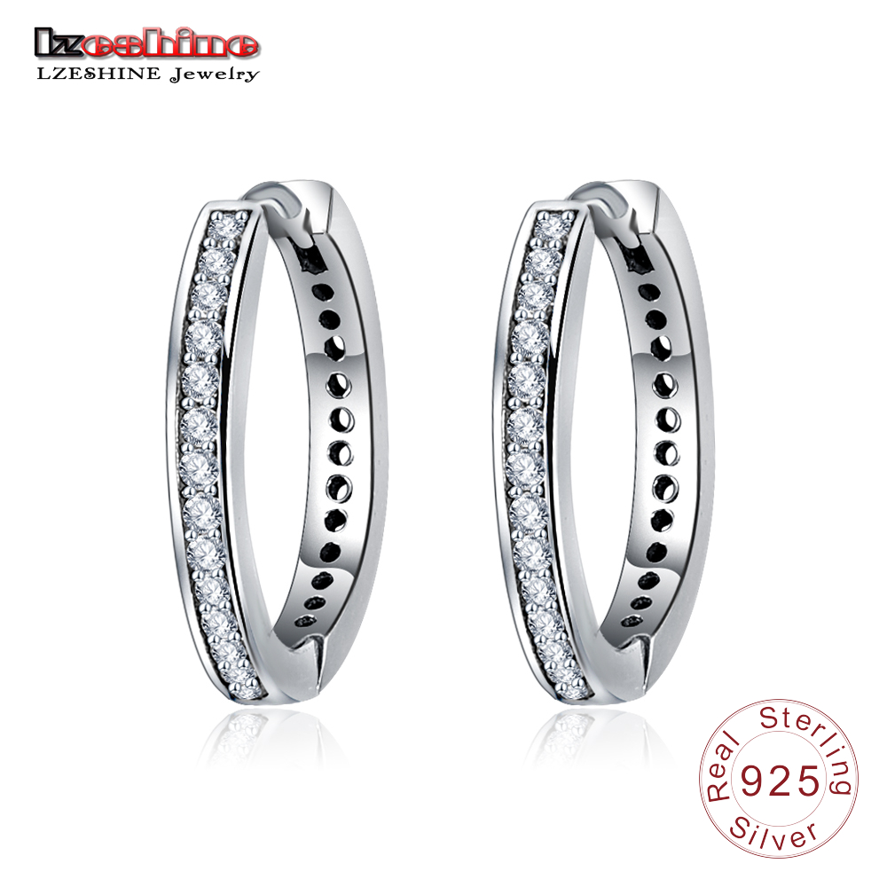 Lzeshine Authentic 925 Sterling Silver Cubic Zirconia Hoop Earrings Jewelry  For Women Fine Sterling Silver Jewelry