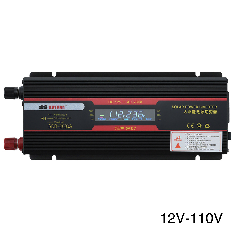 6000W LCD Display USB Convertor Voltage Modified Sine Wave Black Aluminum Alloy Power Universal Socket Car Inverter Trucks