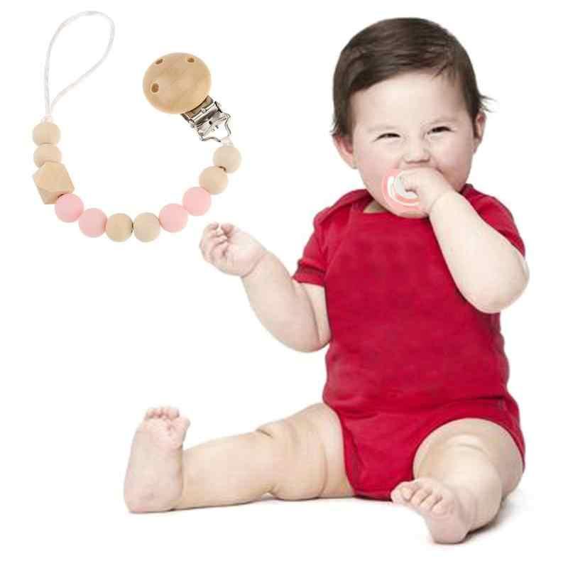 ไม้ซิลิโคน Pacifier จุกนมหลอก Chain น่ารักลูกปัดคลิป Dummy Baby Teething ของเล่นเด็กแรกเกิด Chew คลิป chupete