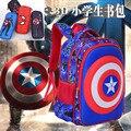Niños Muchachas de los Muchachos Escudo 3D Capitán América Kids Mochilas de los Estudiantes de La Escuela Primaria de Dibujos Animados Mochila Mochila Bolsa