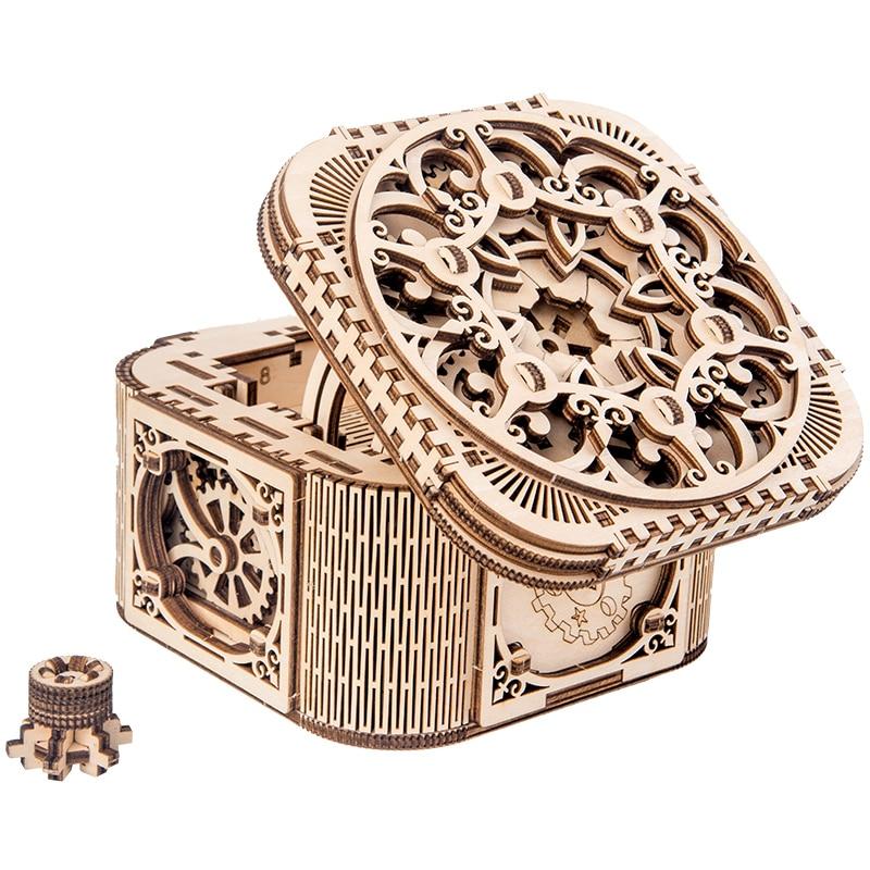 2019 nouvelle boîte à bijoux en bois assemblé jouet créatif cadeau puzzle en bois modèle de transmission mécanique assemblé jouet bricolage cadeau