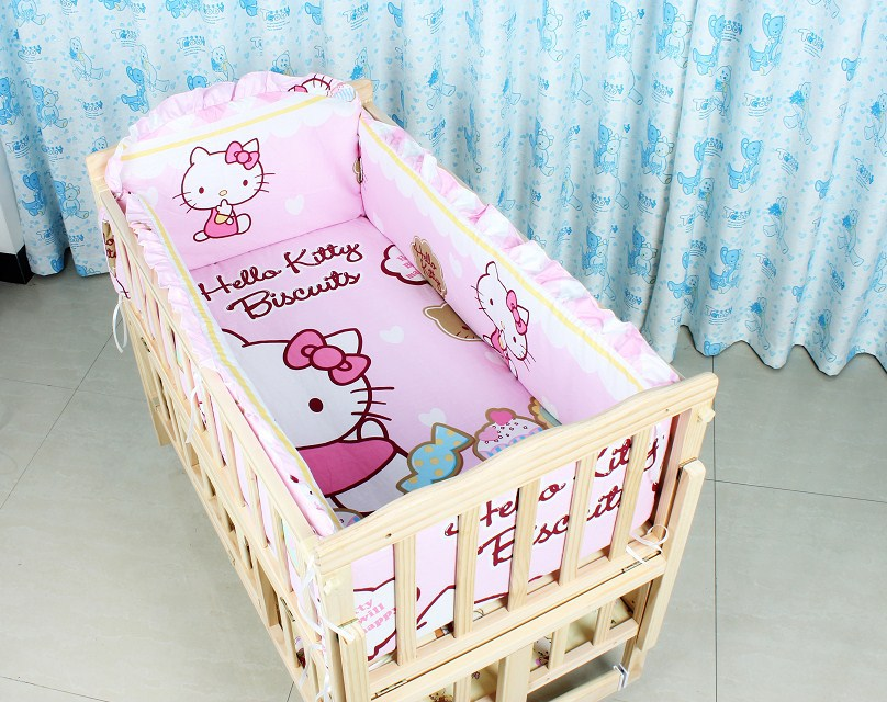 Promotion! 6PCS Cartoon,crib kit bed around,Sheet bedding bumper (bumpers+sheet+pillow cover)