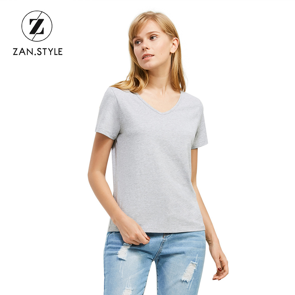 a9c582def51594 ZAN.STYLE Cotton Soft Simple Solid Design Women Tshirt V Neck Short Sleeve  Summer Fitness Casual Girls T Shirt Home Wear Comfort-in T-Shirts from  Women s ...