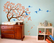 Nursery Kids Bedroom Cute Decor Vinyl Wall Sticker Large Tree With Falling Trees And Flying Birds Art Decorative Wall MuralY-951 недорого