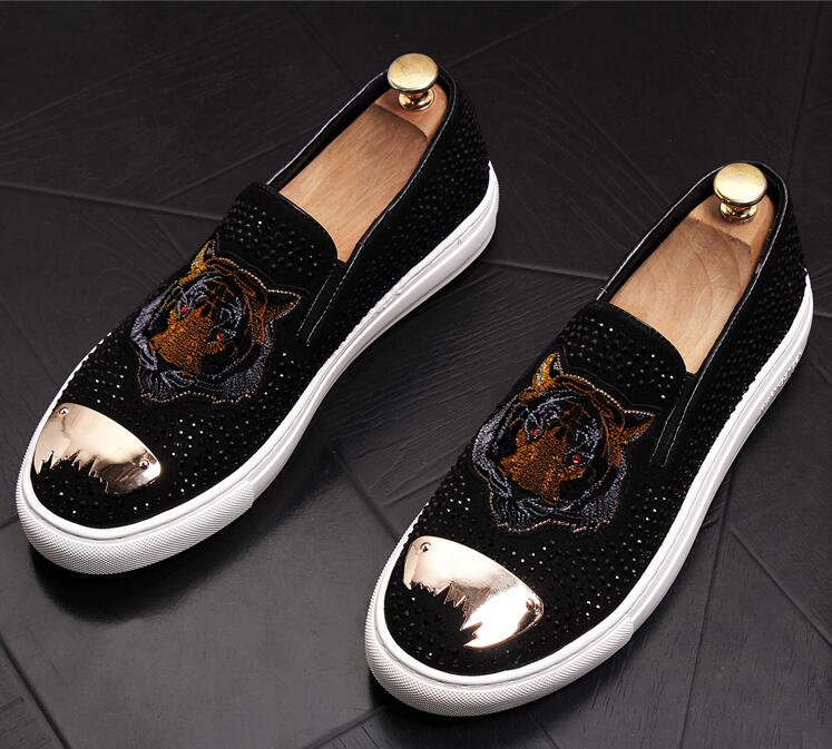Fashion Men bees Embroidery sheet metal Trendy Casual thick bottom platform Shoes Male wedding Dress Prom moccasins loafer 5