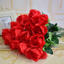 17pcs rose wholesale silk artificial flowers Wedding Party Home Garden Decoration Sweetheart Rose red blue pink white  purple