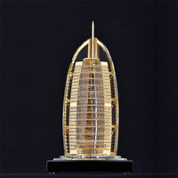 Dubai Burj Al Arab Statue Handwork Crystal Metal Crafts For World Famous Building Model Figurines Home Decoration Gift
