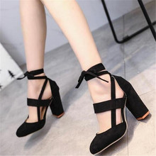 цена 2019 New Ankle Strap Heels Women Sandals Summer Shoes Women Open Toe Chunky High Heels Party Dress Sandals Big Size 35-43 онлайн в 2017 году