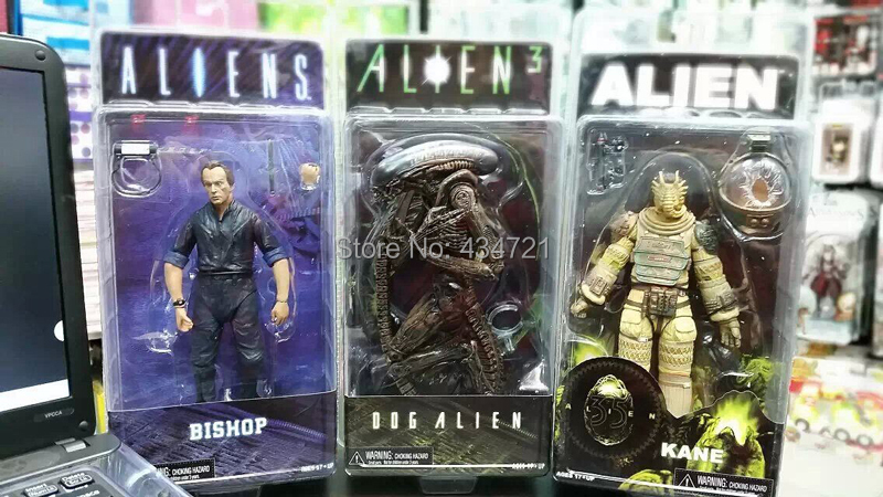 ФОТО 3pcs Classic Sci-Fi Movie Aliens NECA Alien Series 3 Bishop + Kane Nostromo Suit + Dog Alien Action Figure Toys New Box