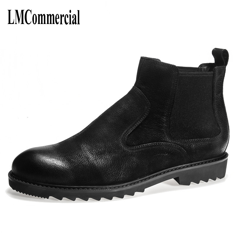 2017 new autumn men's short boots, retro British high shoes, Chelsea boots, leather Martin Boots Men pathfind men boots chelsea boots martin man tooling military genuine leather casual shoes brown black british men s boots boty