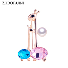 ZHBORUINI New Pearl Brooch Double Deer Breastpin Natural Freshwater Jewelry For Women Chinese Style Accessorie Pin