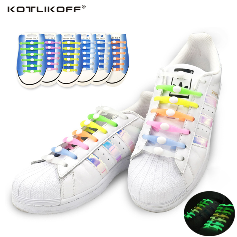 12Pcs/Set Fashion Unisex Women Men Athletic Running Needn't to Tie Lazy Shoelaces Elastic Silicone Shoe Lace All Sneakers Strap
