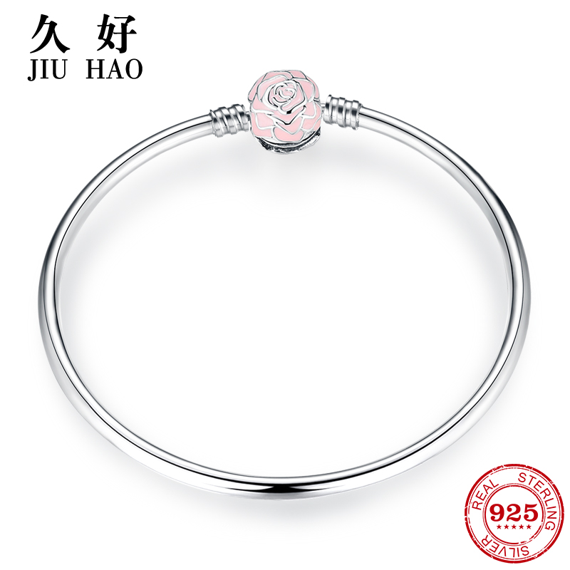 New 925 Sterling Silver Charm LOVE Pink Rose Bracelets Bangles diy for fashion jewelry Womens accessories trendy Jewelry GiftNew 925 Sterling Silver Charm LOVE Pink Rose Bracelets Bangles diy for fashion jewelry Womens accessories trendy Jewelry Gift