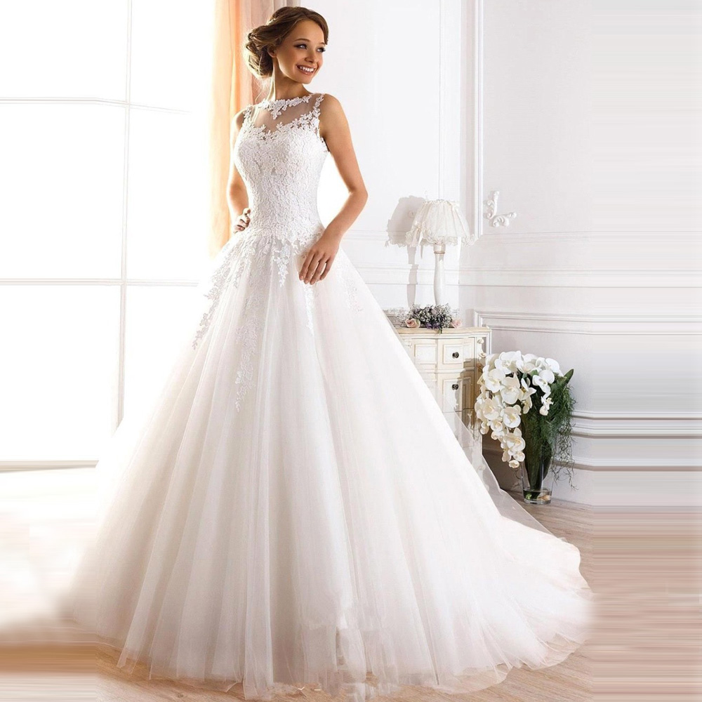 White Simple Bridal Dresses 2016 Lace Tulle Wedding Gowns