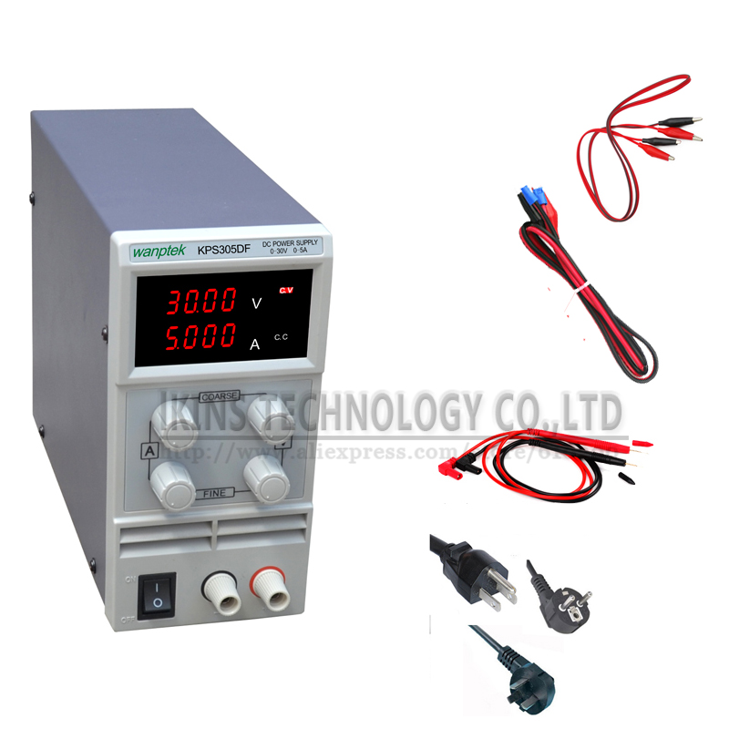 KPS305DF 0-30V/0-5A 110V-230V 0.1V/0.001A EU LED Digital Adjustable Switch DC Power Supply mA display