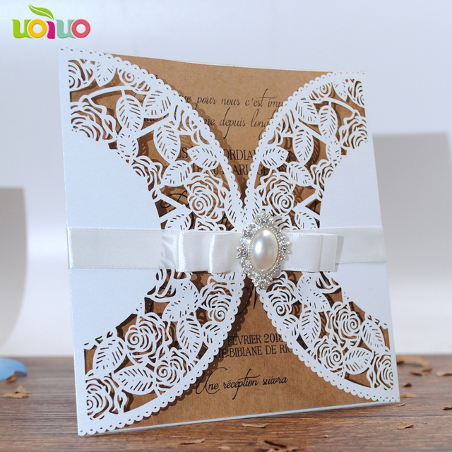 2018 White Rose Simple Card Laser Cut Hollow Birthday Invitation