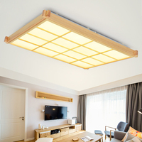 Rectangular Checkered Wooden LED Ceiling Light Creative Living Bedroom Superior Hotel Office Lighting led ceiling lamps ZA MZ77