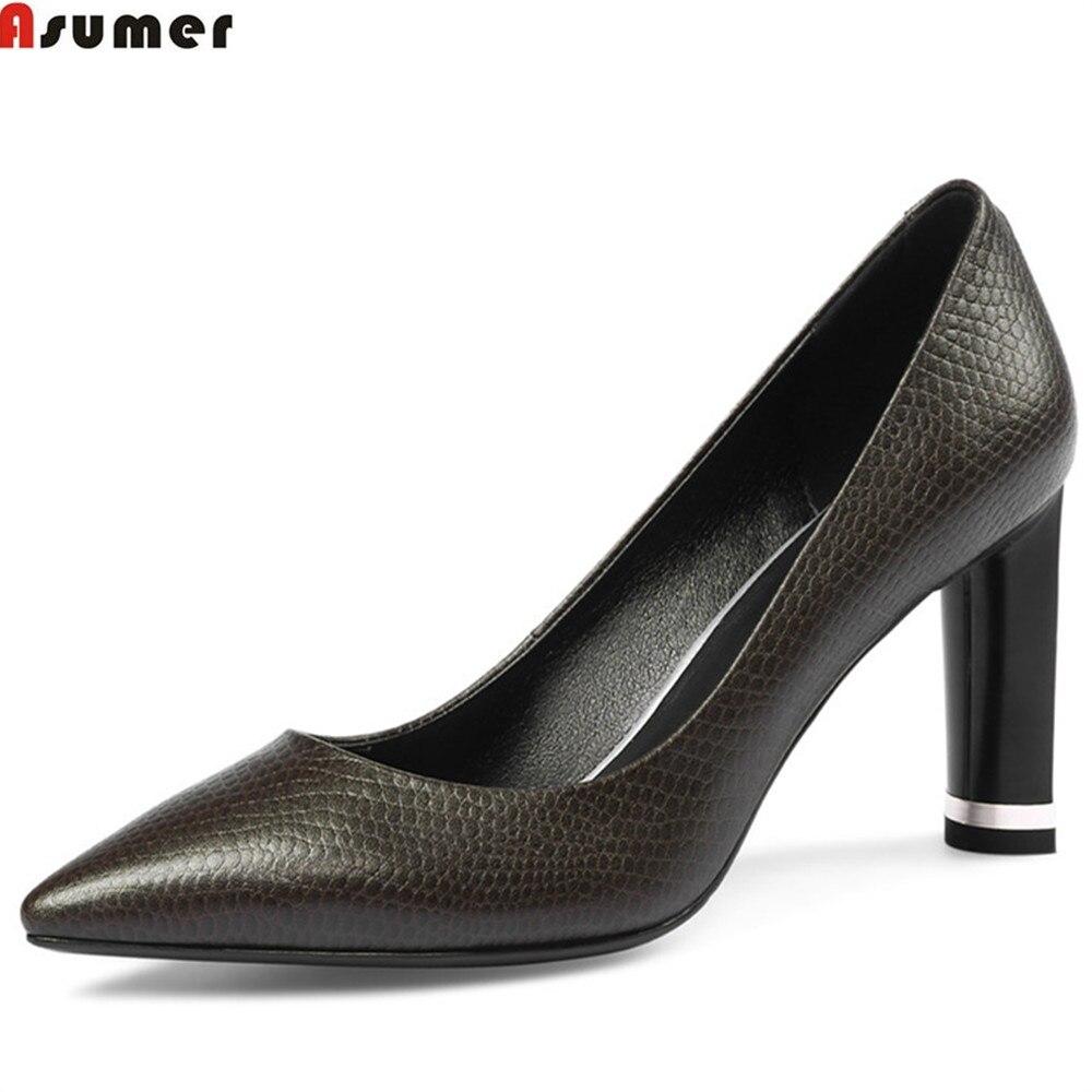 где купить ASUMER black fashion spring autumn shoes woman pointed toe shallow elegant dress shoes women genuine leather high heels shoes по лучшей цене
