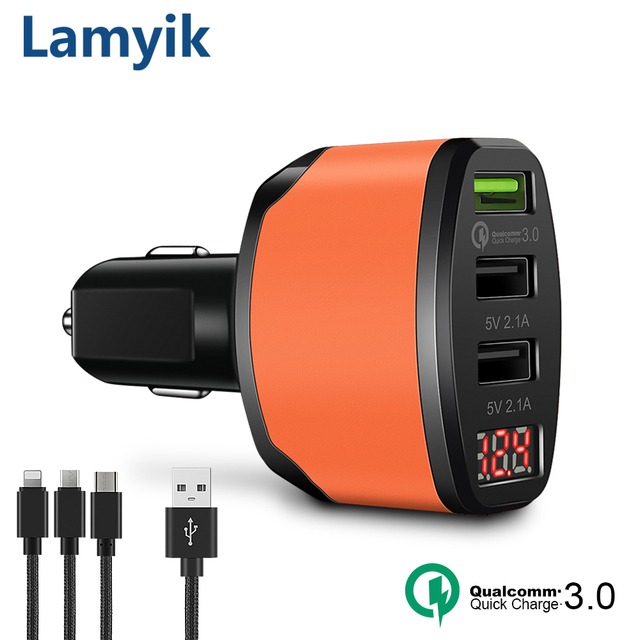 QC3.0 3 Outputs USB Car Charger 5V 4.2A Quick Charge LED Display Cigarette Lighter Fast Car Charger For Oneplus 5 S8 Free Cables
