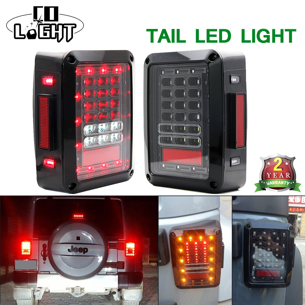 COLIGHT USA/EU Edition 12V 24V 48W Reverser Brake LED Rear Tail Light For Jeep wrangler LED Turn Signal Turning Reverse Light etchepare