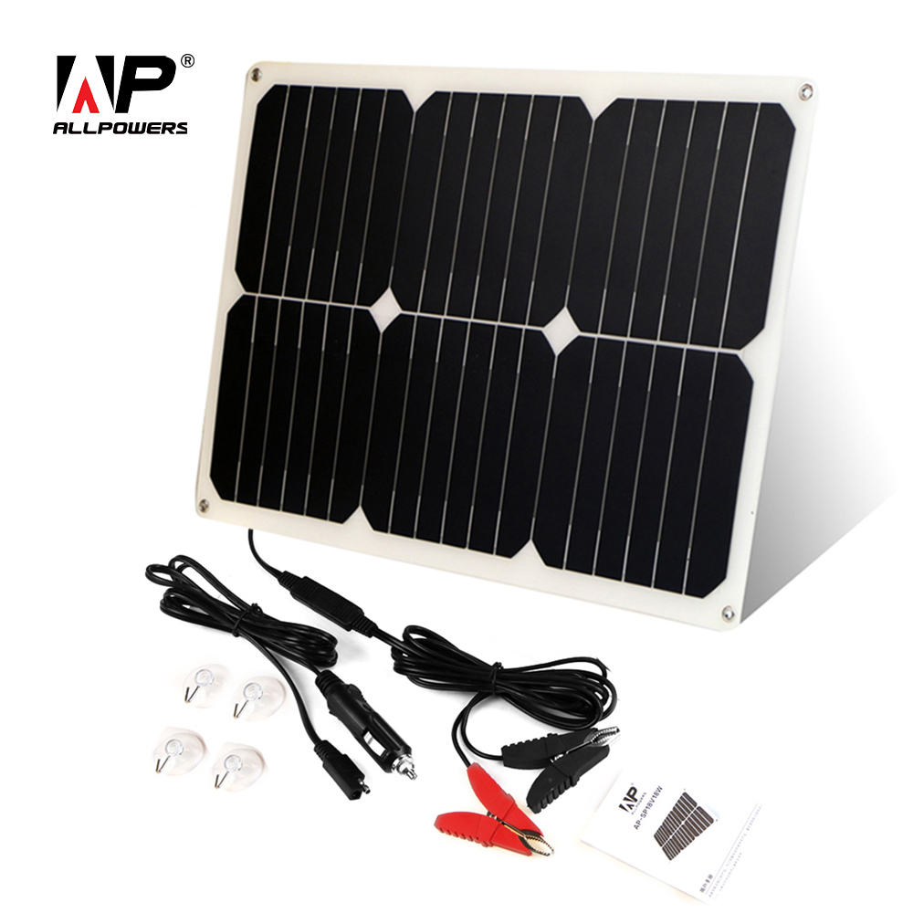 ALLPOWERS Solar Car Battery Charger 12V 18W Portable Solar Car Charger for 12V Car Battery Automobile Motorcycle Boat 1 5w solar powered auto car battery charger black