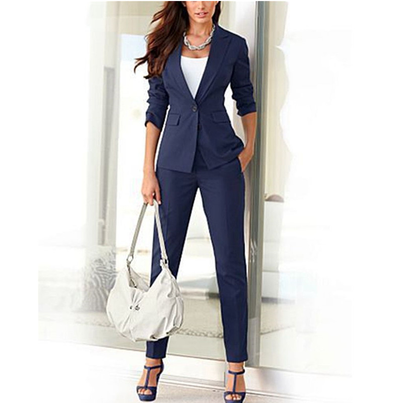 Dark Lake Blue Velvet Formal 2 Piece Sets Women Business Suits with Pant  and Jacket Slim Fit Office Ladies Trouser Suit Custom ac15e95049e3