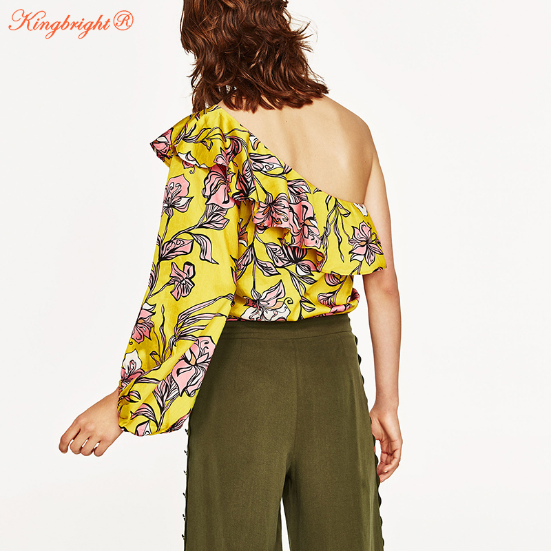 c71bcfc3af82 King Bright 2017 New Summer Overalls Women Bodysuit Sexy Ruffle Rompers  Yellow Vintage One shoulder Jumpsuit Combinaison Femme-in Bodysuits from  Women s ...