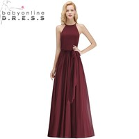 Sexy Sleeveless Chiffon Long Bridesmaid Dresses Halter Burgundy Wedding Party Dress with Sashes Robe Demoiselle D'honneur