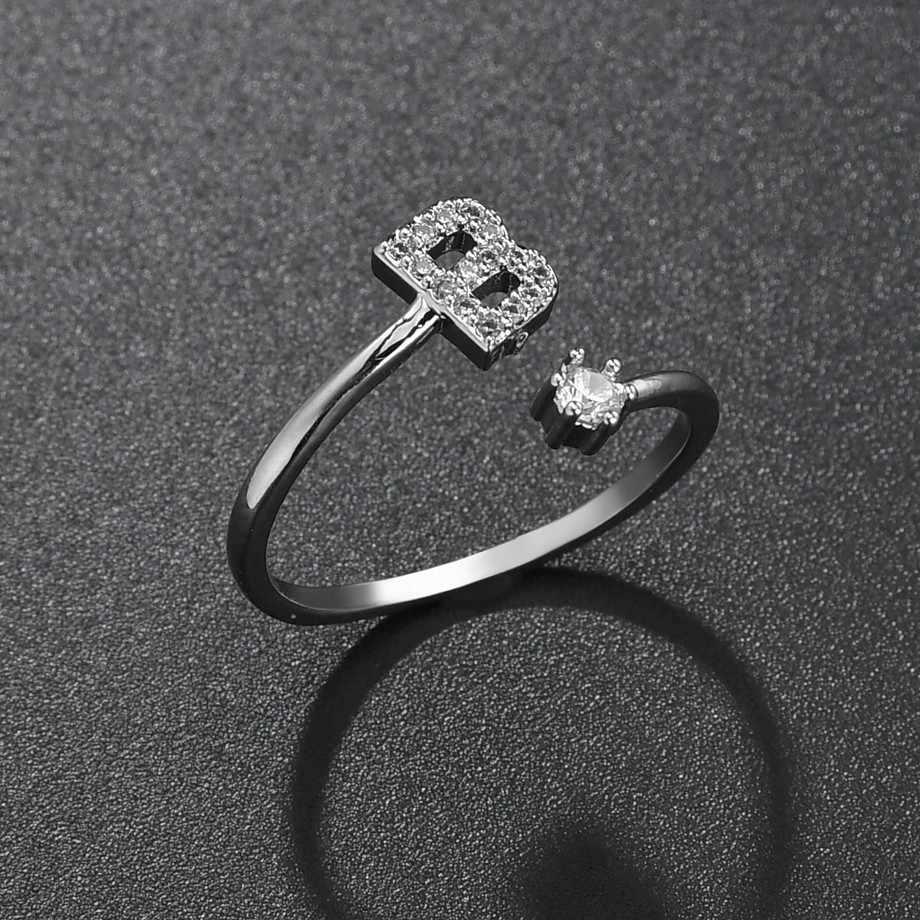 الموضة اليدوية اسم A-Z الأولي الدائري للنساء فتاة الكورية الفضة حجر الراين كريستال رسالة افتتاح خاتم انخفاض الشحن