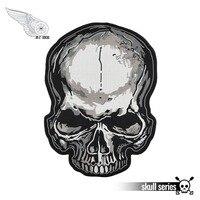 Черный с серым HD Dead бесплатная вышивка череп полный панк мотоциклетный Байкерский патч 31 см Высокая Бесплатная доставка