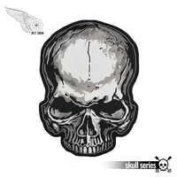 Noir avec gris mort crâne broderie patch plein Punk moto motard grande applique veste Patch 31cm pour vêtements personnalisé bricolage