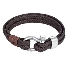 f63bac3f24d1e5 Mens Stainless Steel Anchor Shackles Black/Brown Leather Bracelet & Bangles  Surf Nautical Sailor Men