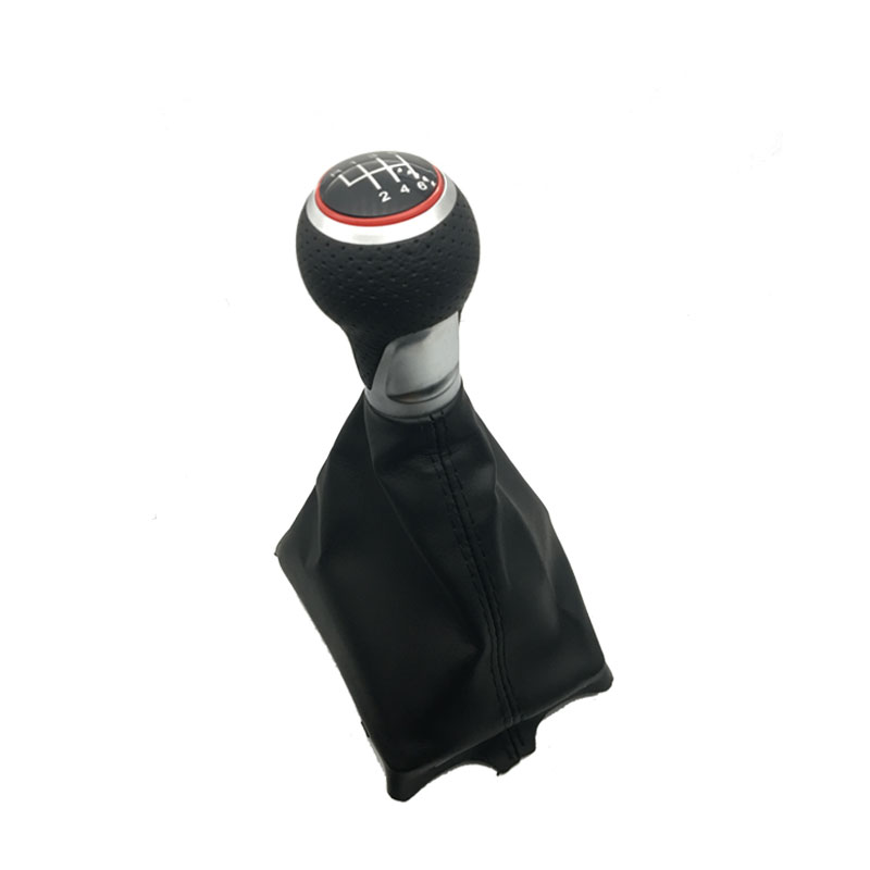 5 6 Speed Car Shift Gear Knob With Red Ring Leather Boot For Audi A4 S4 B8 8K A5 8T 8F Q5 8R S Line 2007 2008 2009 2010 2015 in Gear Shift Collars from Automobiles Motorcycles