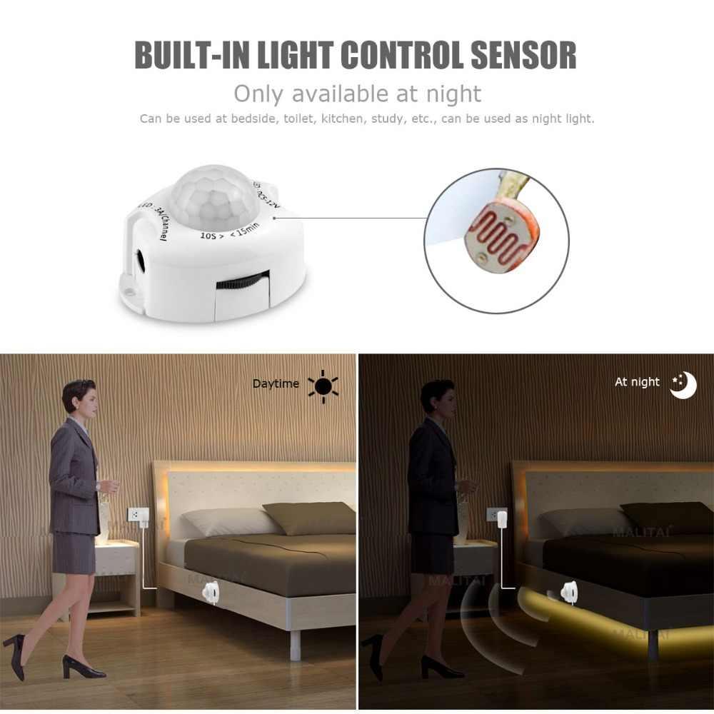 AIMENGTE, lámpara LED con Sensor de movimiento, armario, lámpara de cama, luz de noche, tira Flexible LED de 12 V, cinta de 110 V, 220 V, enchufe estadounidense de la UE