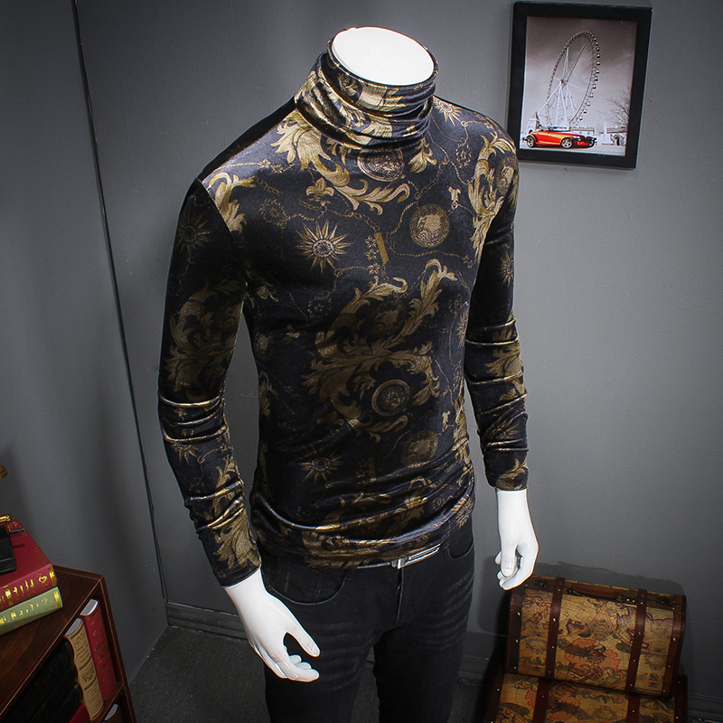 Men's T-shirt Thick-soled Autumn and Winter T-shirt Turtleneck Hoops Men's Cotton Long-sleeved T-shirt Men's Slim N22