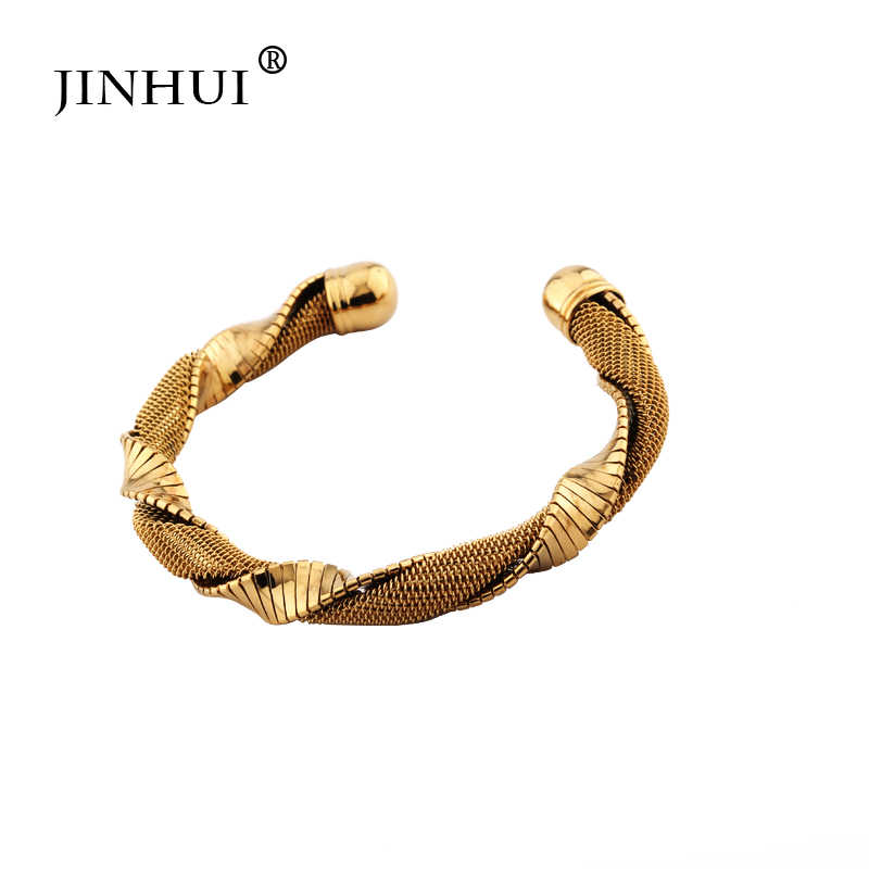 Jin Hui 1 piezas de oro cobre pulseras para mujeres Dubai novia boda joyería pulsera, hombres Ramadan Medio Oriente regalos africanos