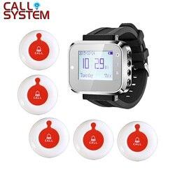 Nowa restauracja sprzęt serwisowy bezprzewodowy kelner dzwonek recepcyjny System (1 zegarek + 5 przycisk połączenia)