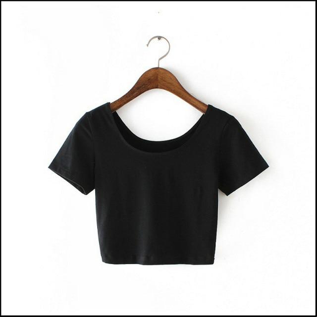 2016 New Women Best Sell U neck Sexy Crop Top Ladies Short Sleeve T Shirt Tee Short T-shirt Basic Stretch T-shirts