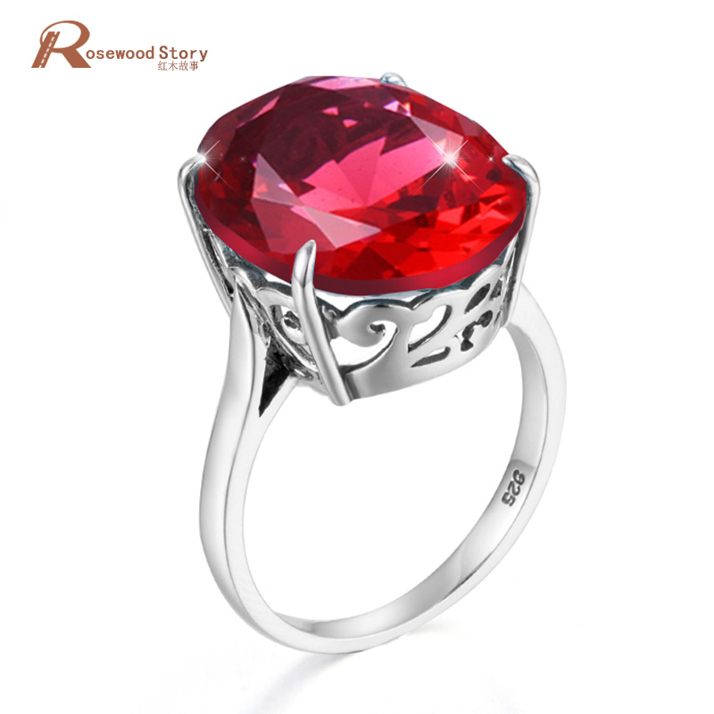 Fashion Big Ruby Rings for Women 925 Sterling Silver Vintaga July Birthstone Engagement Ring Luxury Party GiftFine Jewelry