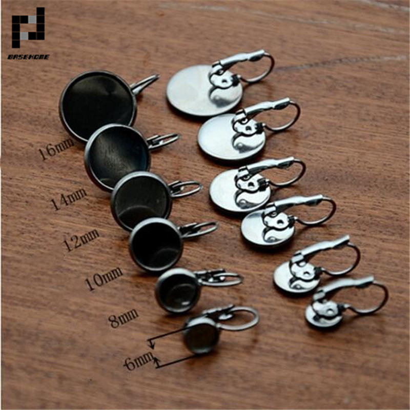BASEHOME 10pcs/lot 316L Stainless Steel 6-20mm Inner Size Earring Settings Cabochon Base Fit Cabochon Cameo DIY Ear Jewelry basehome 10pcs lot 316l stainless steel 6 20mm inner size earring settings cabochon base fit cabochon cameo diy ear jewelry
