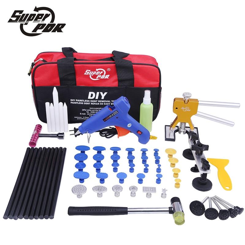 Super Kit PDR Strumenti Strumento di Riparazione Dent Auto Dent Puller Hot Melt Glue Gun Tirando Ponte Gomma Hammer Ammaccature senza vernice rimozione