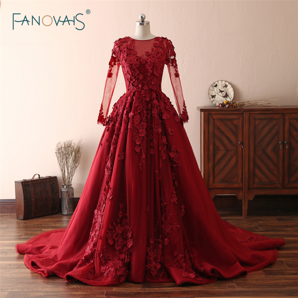 Vintage Burgundy   Evening     Dresses   2018 Long Sleeve Beaded Applique Luxury Lace   Evening   Gown Satin Vestido de Fiesta NE2