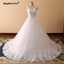 Vestidos de Novia 2019 Sexy Spaghetti Strap V Neck Ball Gown Wedding Dress Luxury Princess Lace Robe de mariage Custom Made(China)